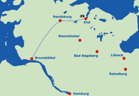 Grafik Verlauf des Nord-Ostsee-Kanals durch Schleswig-Holstein